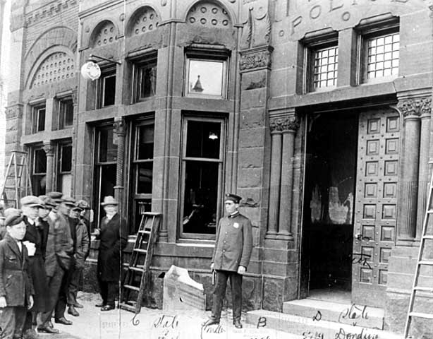 Police station after damage by lynching mob, Duluth