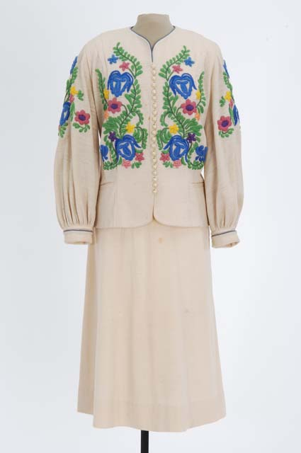 Woman's embroidered white wool jersey suit.
