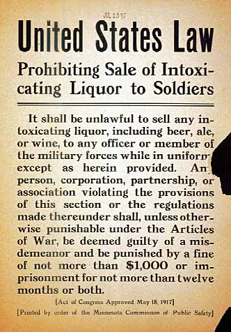 United States Law Prohibiting Sale of Intoxicating Liquor to Soldiers