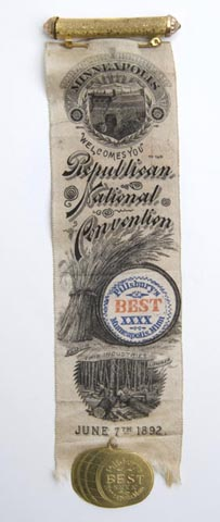 Ribbon, Republican National Convention, 1892