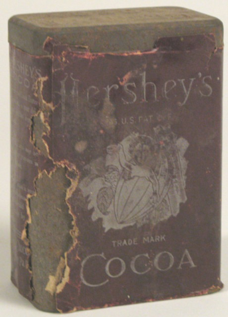 Can of Hershey's Cocoa with paper label, lid