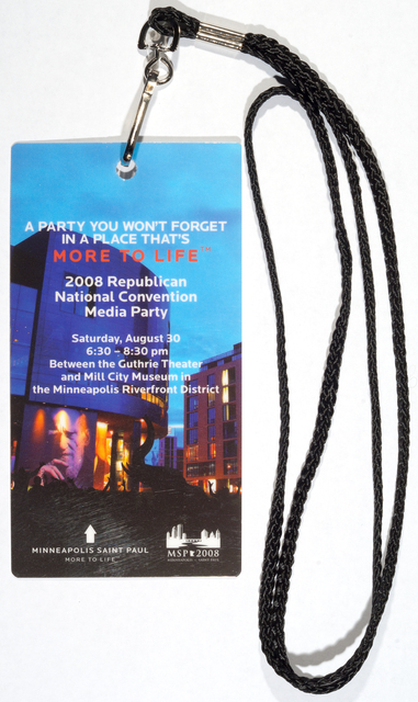 Republican National Convention media party pass, 2008