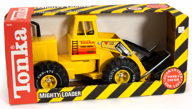 Tonka Toys front-end loader. Creation: Exactly 1990.