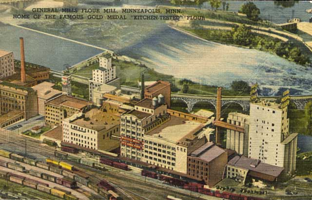 Aerial view of General Mills flour mills, St. Anthony Falls, Minneapolis, 1945