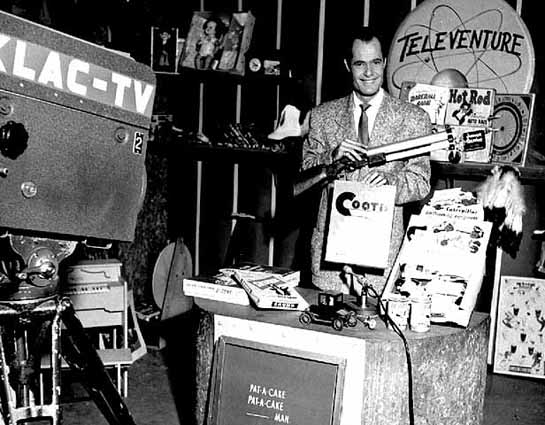 Toy promotion on KLAC-TV featuring the Cootie game, approximately 1955.