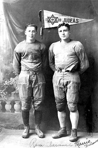 Morris Hillman and Ernie Kaplan, members of the Judeas, a football team sponsored by the Emanuel Cohen Center, Minneapolis, ca. 1928. MHS Photo Collection.
