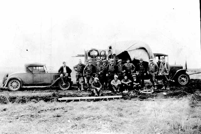 REA line crew, somewhere along the Iron Range, Creation: Approximately 1939, Content: 1930 - 1939.