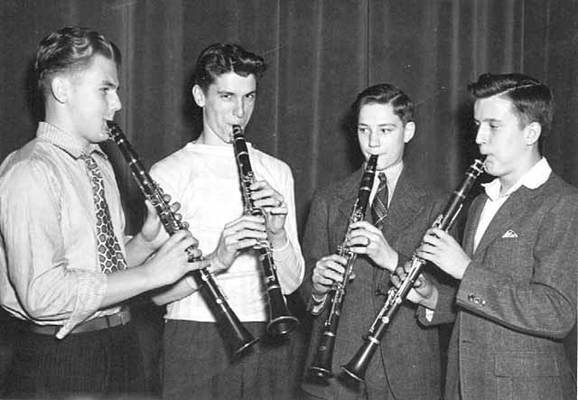 Four men playing clarinets, Federal Music Project, c.1940.