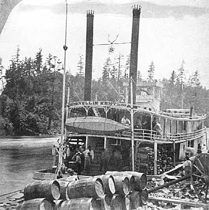 Steamer Nellie Kent tied up on the St. Croix River.