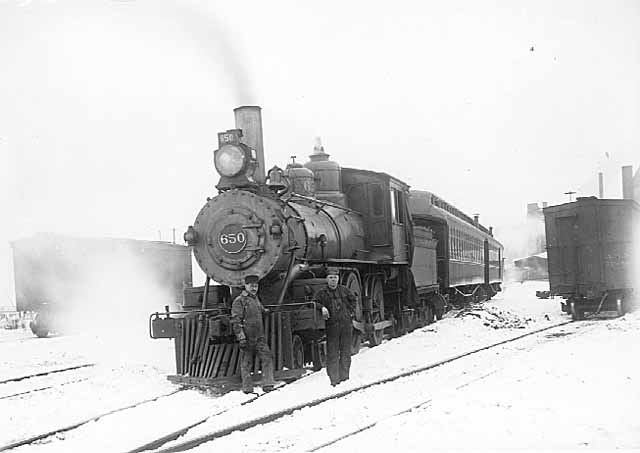 Train and crew in winter.