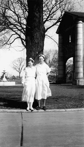 Nurses posed outside the tuberculosis sanitarium at Walker.