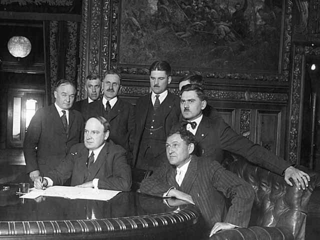 Governor J. A. A. Burnquist signing the Bonus Bill, 1919.