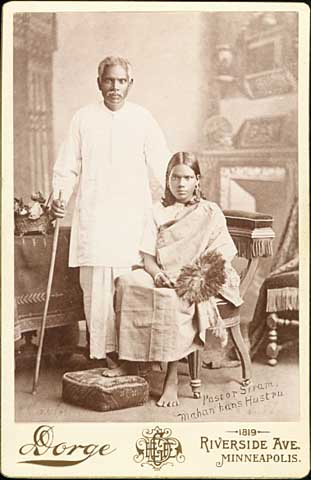 East Indian man and young woman, ca. 1895. MHS Photo Collection.