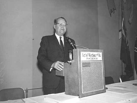 Val Bjornson speaking at a conference
