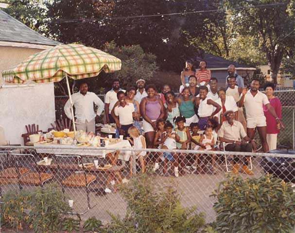 Family group at a backyard picnic, Minneapolis, c.1985.