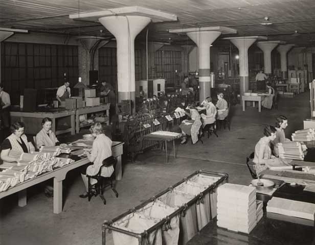 Bindery department and operations, McGill Lithography Company, 501 Seventh Avenue, Minneapolis