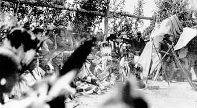 Group of Native American people, Intertribal Encampment, Browning, Montana.