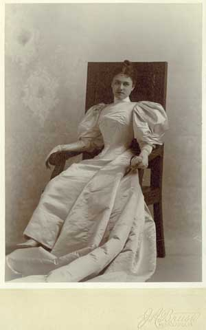 Mabel Shaw Langdon (Mrs. Cavour S.) in her wedding dress. Married December 27, 1893.