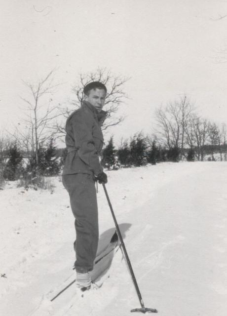 Unidentified man cross country skiing at the Louis W. Hill residence, North Oaks, Minnesota.