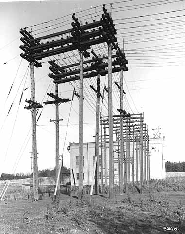 Power lines at G. E. Substation A, 1920.