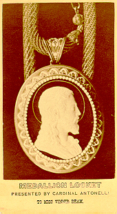 Cameo locket with image of Christ, Medallion Locket presented by Cardinal Antonelli - To Miss Vinnie Ream.