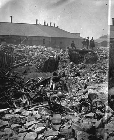 Ruins of Washburn A Mill after explosion, Minneapolis