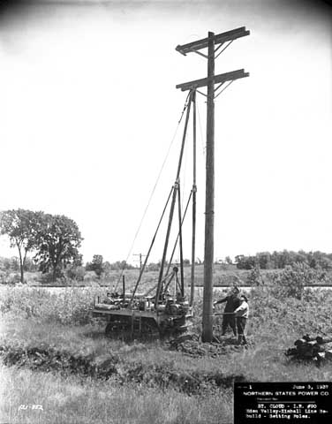 Setting poles on Eden Valley to Kimball Line rebuild, Northern States Power Company, Creation: 1937, Content: 06/03/1937.