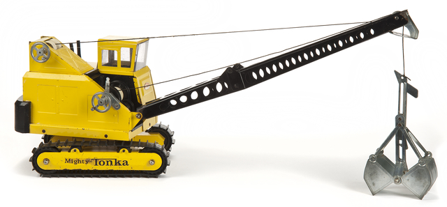 Mighty Tonka crane and clam. Creation: Exactly 1966.