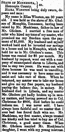 Affidavit of Eliza Winston, St. Cloud Democrat, September 6, 1860