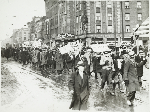 Protest march on Washington Avenue in support of the demands of the unemployed, Minneapolis, 1934.