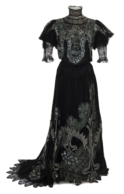 Sequined black satin and lace evening gown
