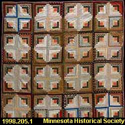 Log Cabin pattern quilt / made by Mary Angelina Austin