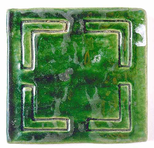 Green earthenware tile