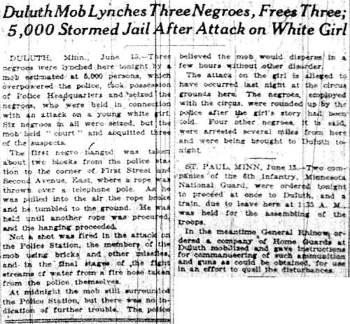New York Times, Duluth Mob Lynches Three Negroes, Frees Three; 5,000 Stormed Jail After Attack on Wh